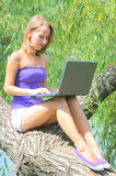 Beautiful woman with notebook Royalty Free Stock Photos