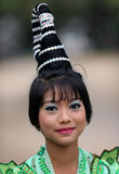 Beautiful woman at novice ceremony, Myanmar. A young Burmese woman with hair dress attending a Buddhist novice hood initiation ceremony in Bagan, Myanmar, Burma stock images