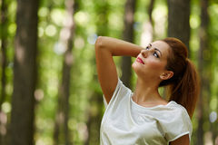Beautiful woman in the oak forest Royalty Free Stock Images