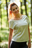 Beautiful woman in the oak forest Royalty Free Stock Image
