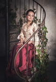 Beautiful woman in old historic medieval dress Royalty Free Stock Photo