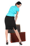 Beautiful woman with an old suitcase Stock Photography