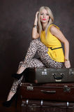 The beautiful woman with old suitcases Stock Images