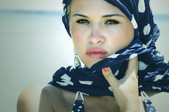 Beautiful Woman On The Beach.Arabian Style.Summer.freckles Stock Photo