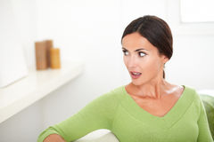 Beautiful woman with open mouth looking shocked Royalty Free Stock Photo