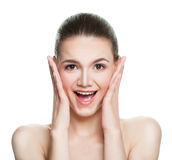 Beautiful Woman with Open Mouth on White Royalty Free Stock Photo