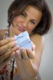 Beautiful woman opening gift box Stock Photo
