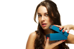 Beautiful woman opening present box Royalty Free Stock Images