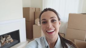 Beautiful woman opens the box. POV stock video footage