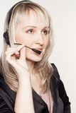 Beautiful woman operator with head-set Stock Image