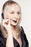 Beautiful woman operator with head-set Stock Image