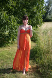 Beautiful woman in orange gown Stock Photography