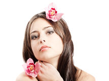 Beautiful woman with orchid Royalty Free Stock Images