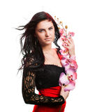 Beautiful woman with orchid Royalty Free Stock Image