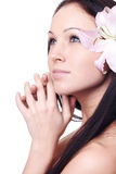 Beautiful woman with orchids Royalty Free Stock Photos