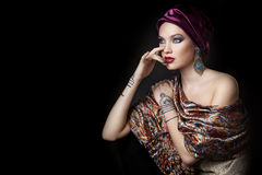 Beautiful woman in oriental style with mehendi Royalty Free Stock Photo