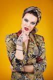 Beautiful woman in oriental style with mehendi in hijab Royalty Free Stock Photo