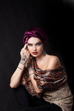 Beautiful woman in oriental style with mehendi Royalty Free Stock Image