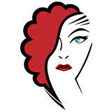 Beautiful woman with original red hairstyle Royalty Free Stock Image