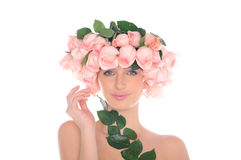 Beautiful woman with ornaments of roses and leaves Royalty Free Stock Photo