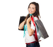 Beautiful woman out shopping Royalty Free Stock Images