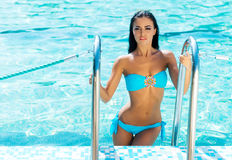 Beautiful woman in an outdoor pool Royalty Free Stock Photo