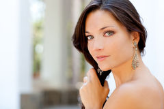 Beautiful woman outdoor portrait combing Royalty Free Stock Photography