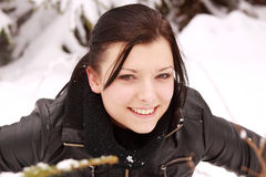 Beautiful woman outdoor in the snow Royalty Free Stock Image