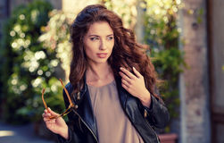 Beautiful  woman outdoor on  street of the old town Stock Image