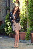 Beautiful  woman outdoor on  street of the old town Stock Photography