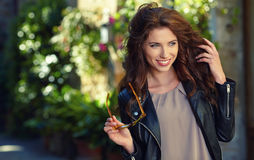 Beautiful  woman outdoor on  street of the old town Stock Photo