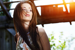 Beautiful  woman outdoors Royalty Free Stock Images