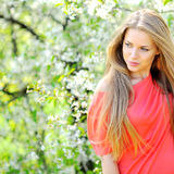 Beautiful woman outdoors. Looking at copyspace royalty free stock photos