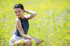 Beautiful woman outdoors Royalty Free Stock Photography