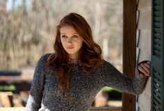 Beautiful Woman Outside in Sweater Stock Photography