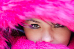 Beautiful woman outside in a very cold weather Royalty Free Stock Image