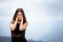 Beautiful woman over a mountain landscape Royalty Free Stock Photography