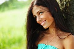 Beautiful Woman over Nature background Stock Photography