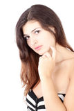 Beautiful woman   over white background Royalty Free Stock Image