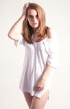 Beautiful Woman in Oversize T-shirt Stock Photography