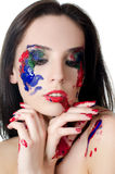 The beautiful woman with a paint on the face Stock Photo