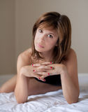 Beautiful Woman With Painted Fingernails Stock Photos