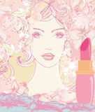 Beautiful woman with painted lips Royalty Free Stock Photography
