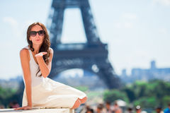 Beautiful woman in Paris background the Eiffel tower Royalty Free Stock Photo