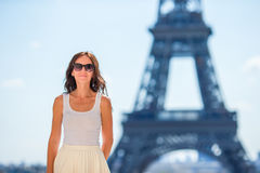 Beautiful woman in Paris background the Eiffel tower Royalty Free Stock Images