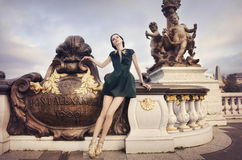 Beautiful woman in Paris stock photography