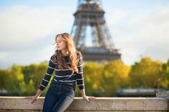 Beautiful woman in Paris on a fall day Royalty Free Stock Images