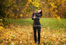 Beautiful woman in a park at autumn Royalty Free Stock Photos