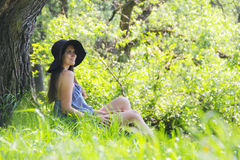 Beautiful woman in park Royalty Free Stock Image