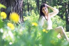 Beautiful woman in park Stock Photos